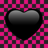 Valentines Day Glossy Emo Heart. Pink and Black Checkers Royalty Free Stock Photo