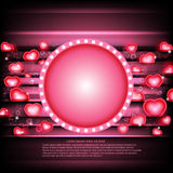 valentines day glowing background with hearts and circle frame Stock Photo