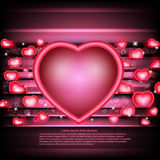 Valentines day glowing background with hearts and heart frame in centre Royalty Free Stock Photos