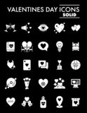 Valentines day glyph icon set, amour symbols collection, vector sketches, logo illustrations, love signs solid. Pictograms package isolated on black background vector illustration
