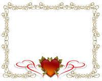 Valentines Day Gold Border Stock Photo