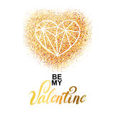 Valentines day gold greeting card Royalty Free Stock Photo