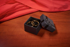 Valentines day gold wedding rings Stock Images