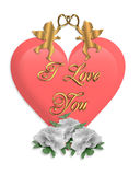 Valentines Day graphic Heart and Cupids  Stock Photo