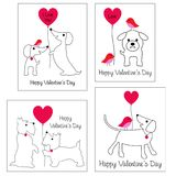Valentines day graphics with cute dogs and balloons. Valentines day vector graphics with cute dogs and balloons vector illustration