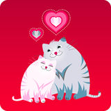 Valentines day greeting card. Funny greeting card with two fat cats sitting together with the little hearts. Red color Royalty Free Stock Photos