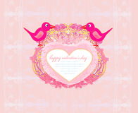 Valentines day greeting card with 2 sweet birds Stock Image
