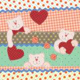 Valentines Day greeting card. Funny Teddy Bears with hearts. Vector illustration Stock Illustration