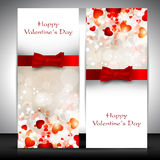 Valentines Day greeting card. With hearts and red ribbon. EPS 10. Love background Stock Image