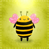 Valentines day greeting card with bee. And heart vector illustration