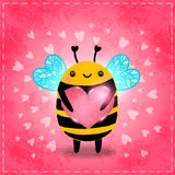 Valentines day greeting card with bee and heart Stock Images