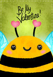 Valentines day greeting card with bee and heart Stock Photography