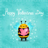 Valentines day greeting card with bee and heart Royalty Free Stock Photos