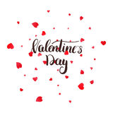Valentines Day greeting card with calligraphy lettering and petals.  Stock Image