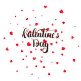 Valentines Day greeting card with calligraphy lettering and petals.  Stock Images