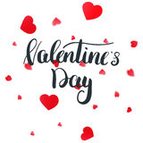 Valentines Day greeting card with calligraphy lettering and petals.  Vector Illustration