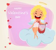 Valentines Day greeting card. Cartoon character vector illustration