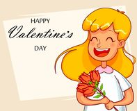 Valentines Day greeting card. Cartoon character royalty free illustration