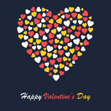 Valentines day greeting card design with big heart shape Royalty Free Stock Image