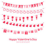 Valentines day greeting card with festive garlands Stock Photos