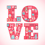 Valentines day greeting card with flat icons Royalty Free Stock Photo