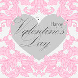 Valentines day greeting card with floral elements Royalty Free Stock Photography