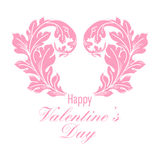 Valentines day greeting card with floral elements Royalty Free Stock Image