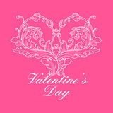 Valentines day greeting card with floral elements Stock Photography