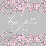 Valentines day greeting card with floral elements Stock Photo