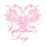 Valentines day greeting card with floral elements Stock Image