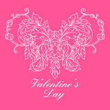 Valentines day greeting card with floral elements Royalty Free Stock Photo