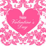 Valentines day greeting card with floral elements Royalty Free Stock Photos
