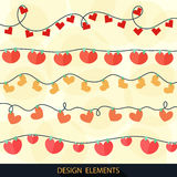 Valentines Day greeting card with garlands. Vector. Eps10 Stock Photos