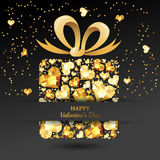 Valentines day  greeting card. Gift box with 3d gold heart diamonds, gems, jewels, bow ribbon. Royalty Free Stock Image
