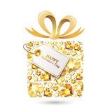 Valentines day  greeting card. Gift box with 3d gold heart diamonds, gems, jewels, bow ribbon, tag. Royalty Free Stock Photos