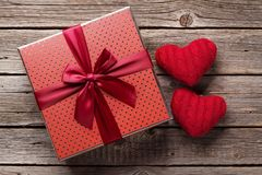 Valentines day gift box with red hearts Royalty Free Stock Images