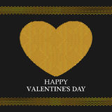 Valentines Day Greeting Card. Golden Heart. Valentines day background Royalty Free Stock Image