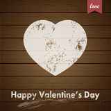 Valentines Day greeting card with grunge heart Royalty Free Stock Images
