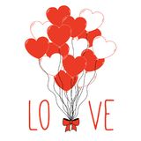Valentines day greeting card. Hand drawn Valentines day greeting card with a bunch of heart shaped balloons tied with a ribbon and text Love.  objects on white Stock Images