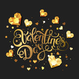 Valentines day  greeting card. Hand drawn calligraphy lettering and 3d gold heart diamonds, gems, jewels. Design elements for Valentines banner, poster, flyer Stock Photos