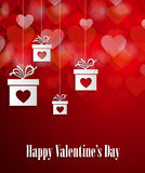 Valentines day greeting card with hanging gifts and hearts Stock Photo