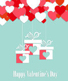 Valentines day greeting card with hanging gifts Stock Photography