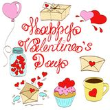 Valentines day. Greeting card happy saint valentine day, bank with hearts, letter with wings, envelope, balloons in uniforms, stickers, vector illustration Stock Photography