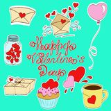Valentines day. Greeting card happy saint valentine day, bank with hearts, letter with wings, envelope, balloons in uniforms, stickers, vector illustration Royalty Free Stock Photo