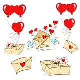 Valentines day. Greeting card happy saint valentine day, bank with hearts, letter with wings, envelope, balloons in uniforms, stickers, vector illustration Royalty Free Stock Image