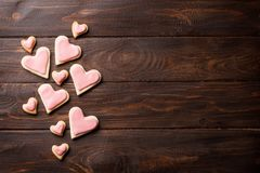 Valentines day greeting card with heart cookies Royalty Free Stock Photos
