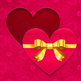 Valentines day greeting card with heart and ribbon. Valentines day greeting card with heart and golden ribbon Royalty Free Stock Image