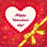 Valentines day greeting card with heart and ribbon. Valentines day greeting card with heart and golden ribbon Stock Images