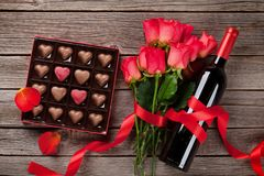 Valentines day greeting card with heart shaped chocolate Royalty Free Stock Image