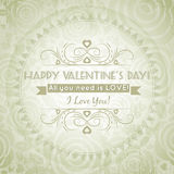 Valentines day greeting card  with  heart and wish Royalty Free Stock Photos